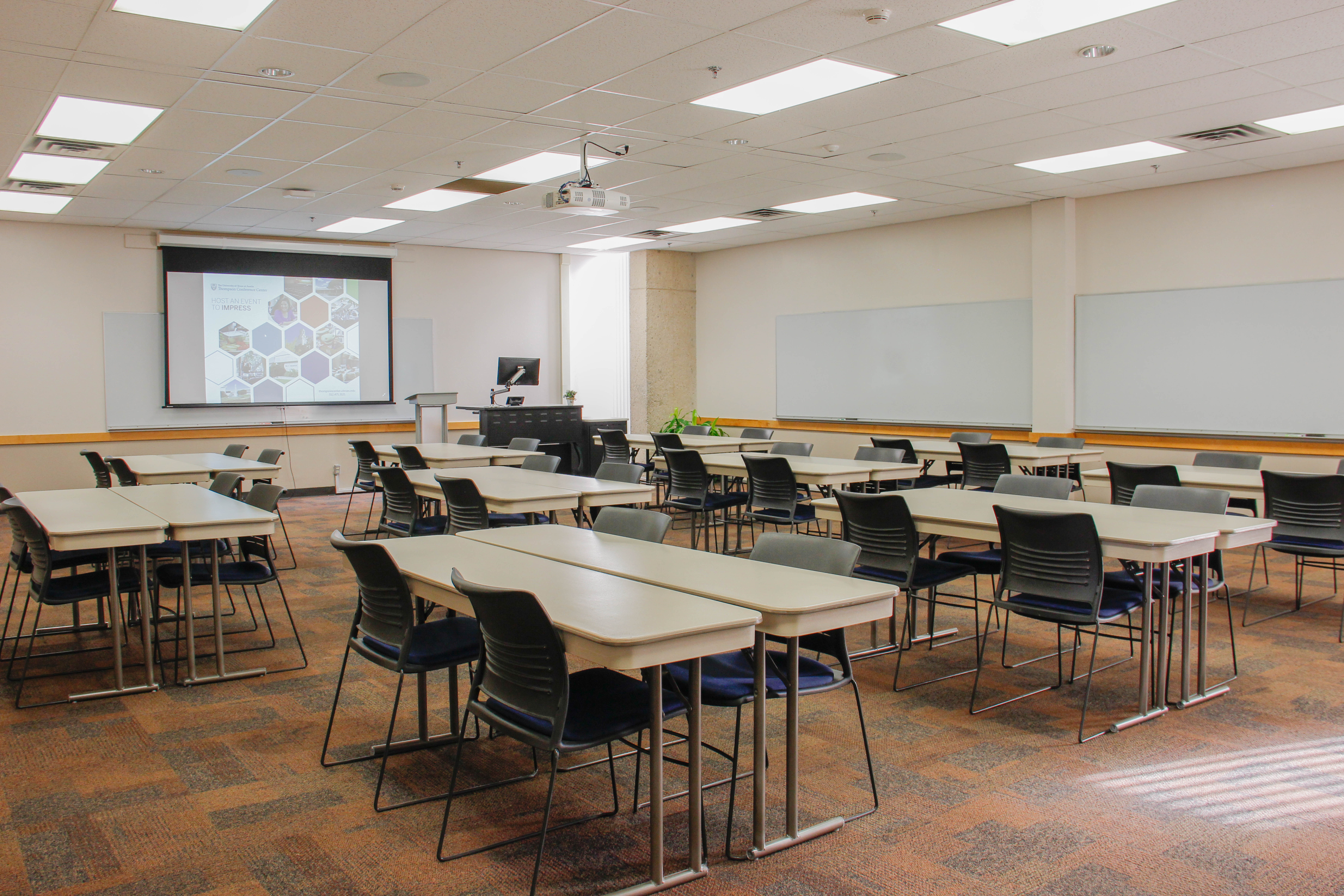 Classroom with tab;es and chairs